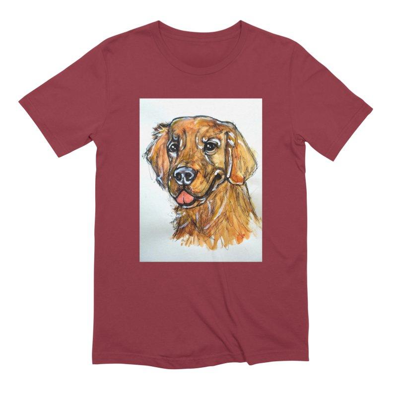Golden Retriever Men's Extra Soft T-Shirt by AlmaT's Artist Shop