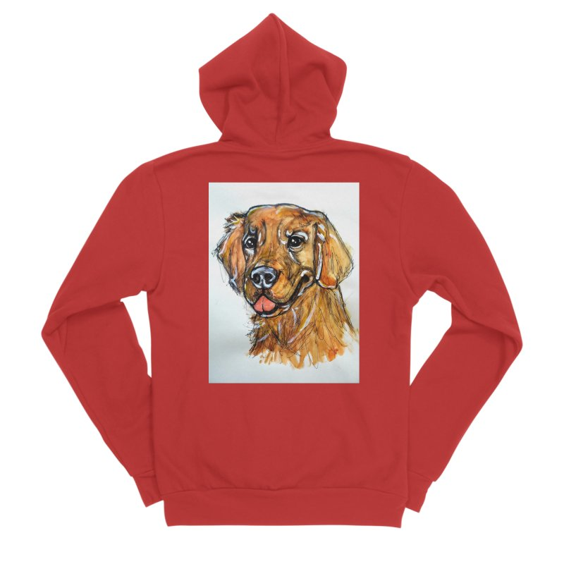 Golden Retriever Women's Sponge Fleece Zip-Up Hoody by AlmaT's Artist Shop