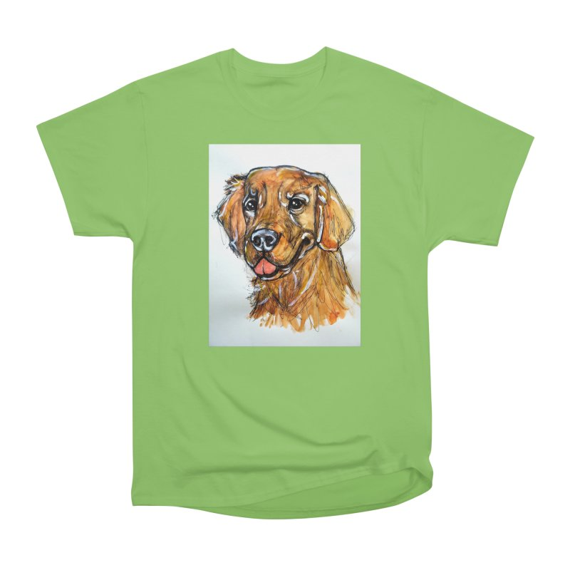 Golden Retriever Women's Heavyweight Unisex T-Shirt by AlmaT's Artist Shop