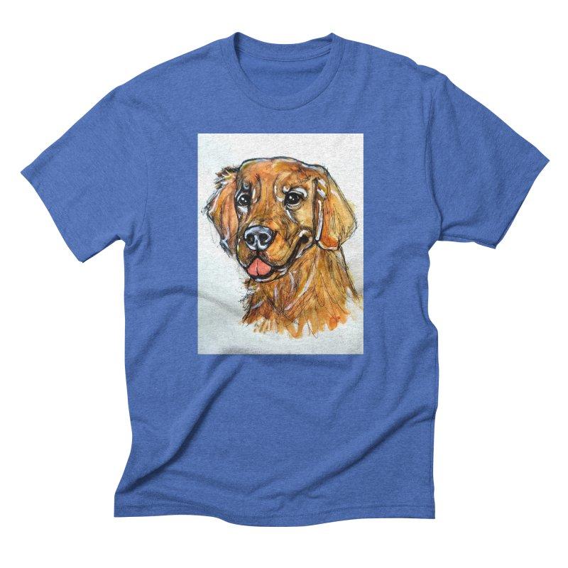 Golden Retriever Men's Triblend T-Shirt by AlmaT's Artist Shop