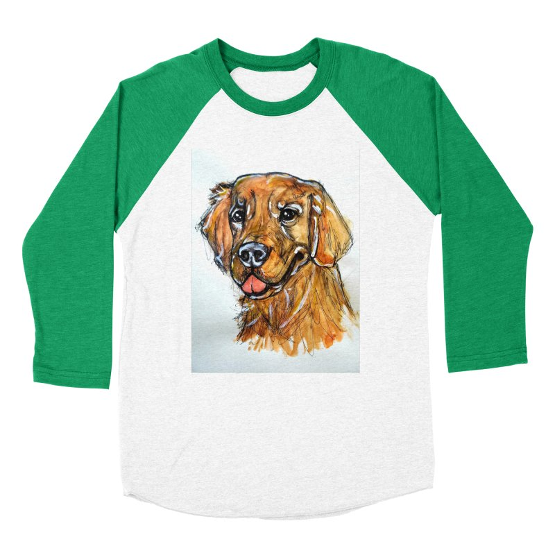 Golden Retriever Women's Baseball Triblend Longsleeve T-Shirt by AlmaT's Artist Shop
