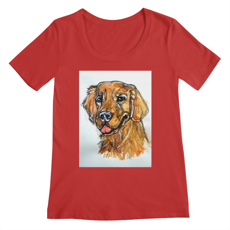 Golden Retriever Women's Regular Scoop Neck by AlmaT's Artist Shop