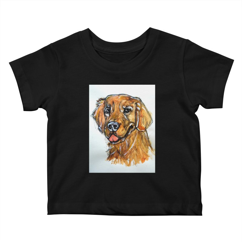 Golden Retriever Kids Baby T-Shirt by AlmaT's Artist Shop