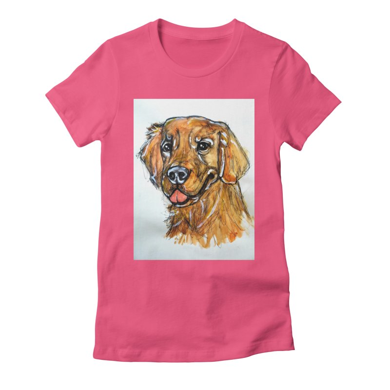 Golden Retriever Women's Fitted T-Shirt by AlmaT's Artist Shop