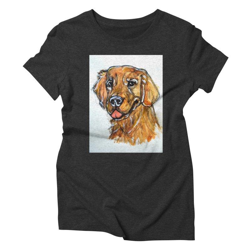 Golden Retriever Women's Triblend T-Shirt by AlmaT's Artist Shop