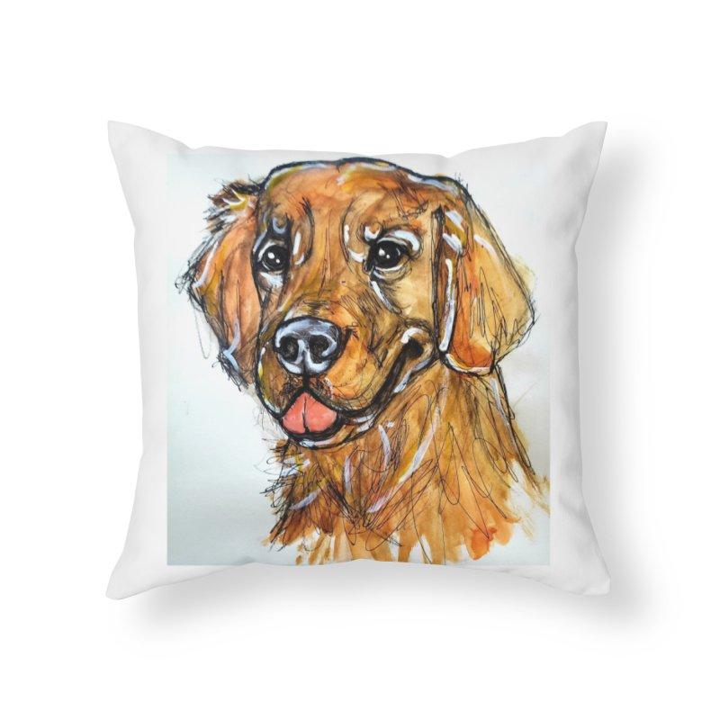 Golden Retriever Home Throw Pillow by AlmaT's Artist Shop