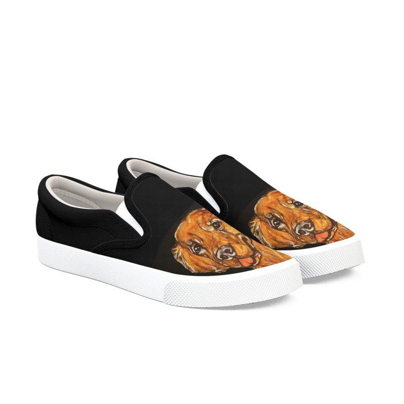 Golden Retriever 2 Men's Slip-On Shoes by AlmaT's Artist Shop