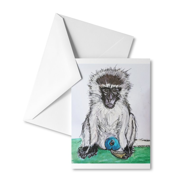 Vervet Monkey Accessories Greeting Card by AlmaT's Artist Shop