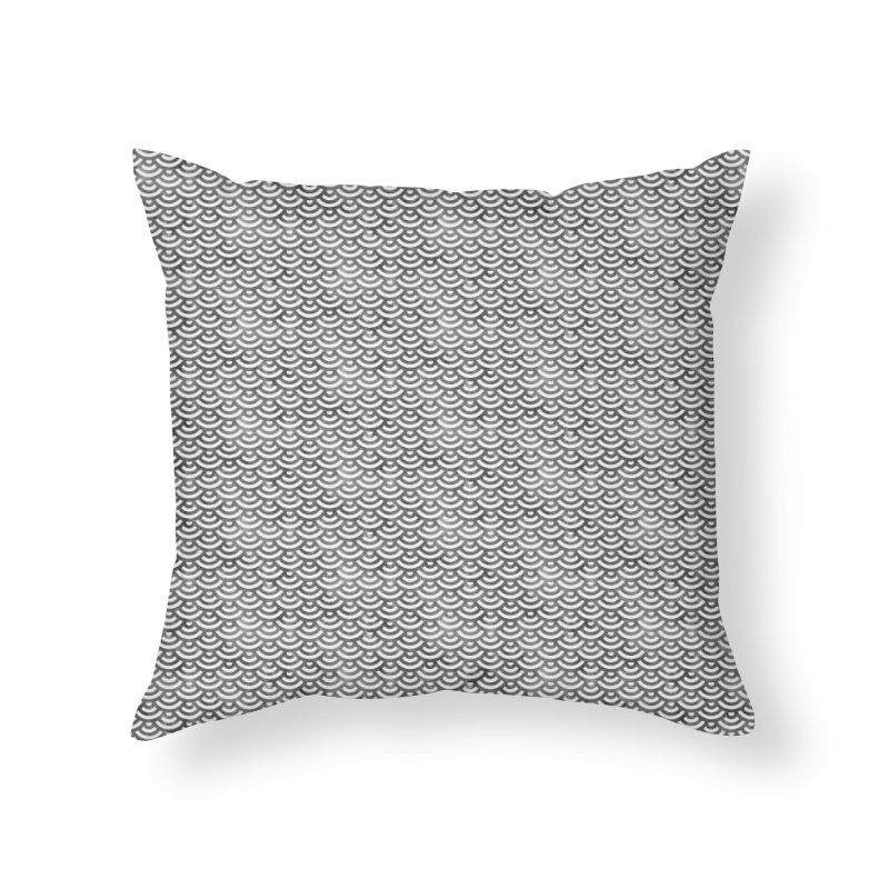 Black and White Mermaid Pattern (Pastel)  in Throw Pillow by Alvestegui's Artist Shop