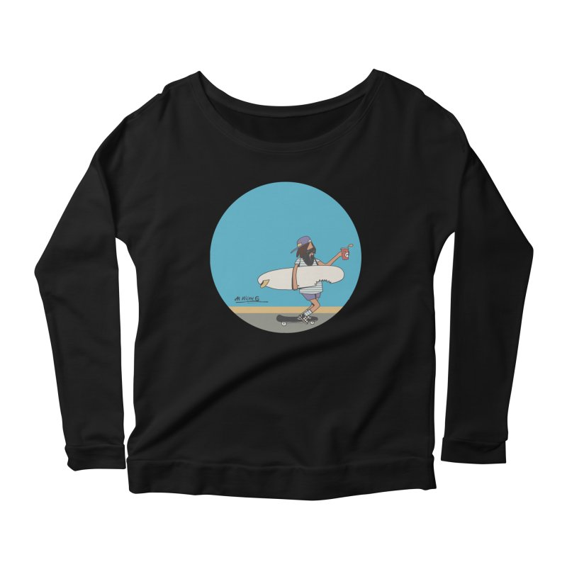 Shark Bite Women's Scoop Neck Longsleeve T-Shirt by Alwrath's Artist Shop
