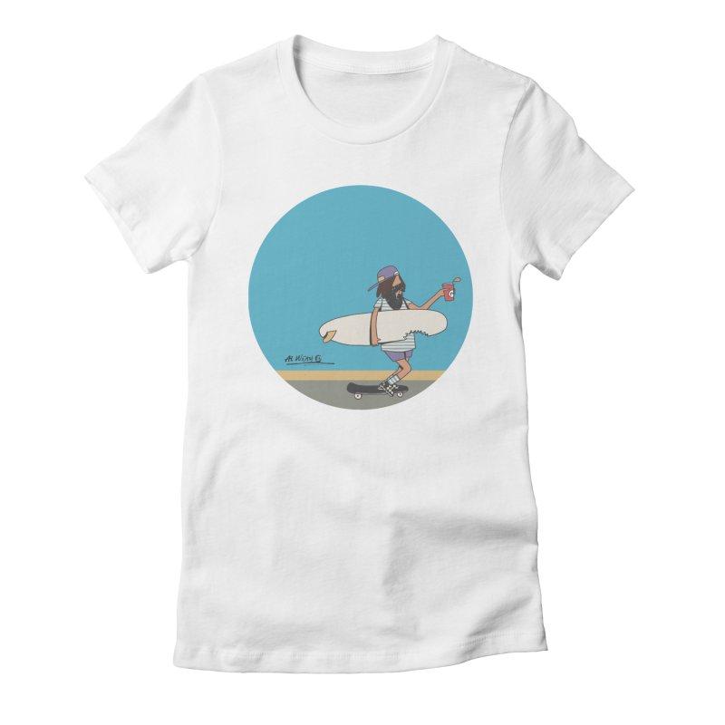 Shark Bite Women's Fitted T-Shirt by Alwrath's Artist Shop