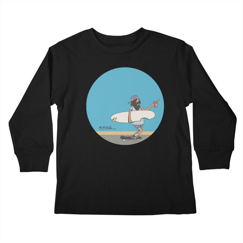 Shark Bite Kids Longsleeve T-Shirt by Alwrath's Artist Shop