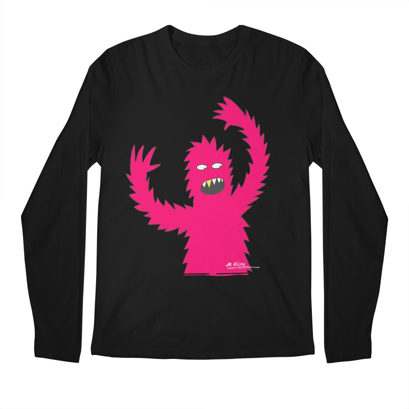 Happy Monster Men's Regular Longsleeve T-Shirt by Alwrath's Artist Shop
