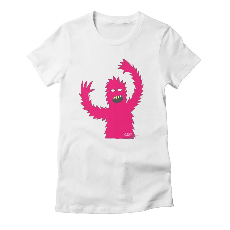 Happy Monster Women's Fitted T-Shirt by Alwrath's Artist Shop