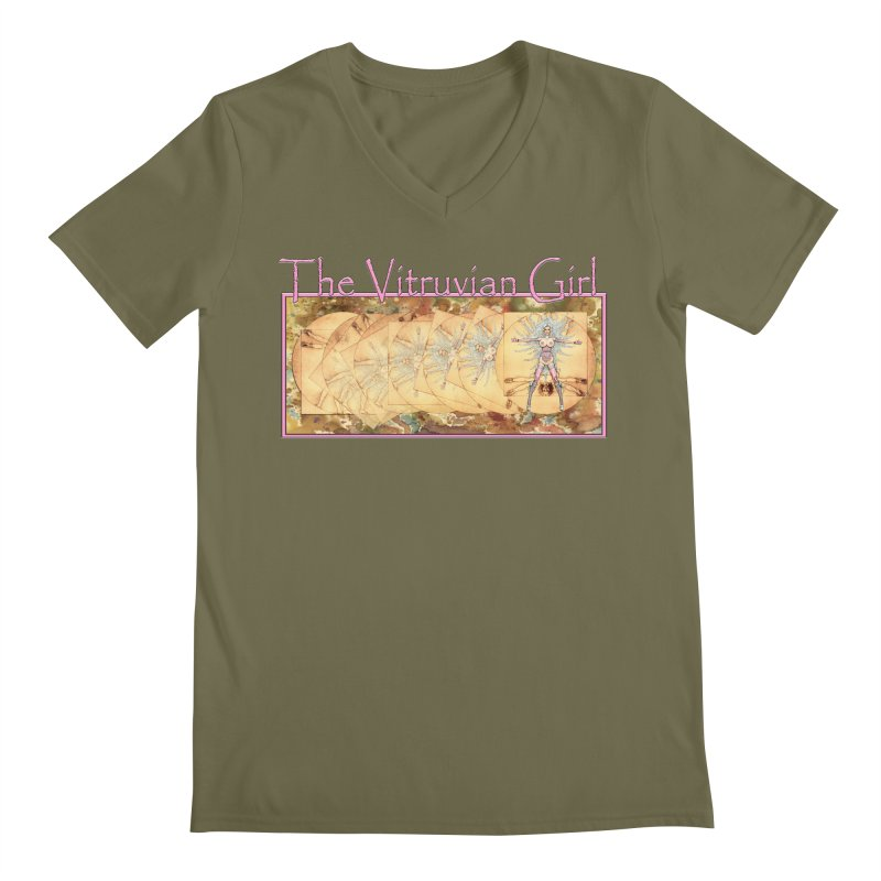 The Vitruvian Girl Men's Regular V-Neck by AmandaHoneyland's Artist Shop