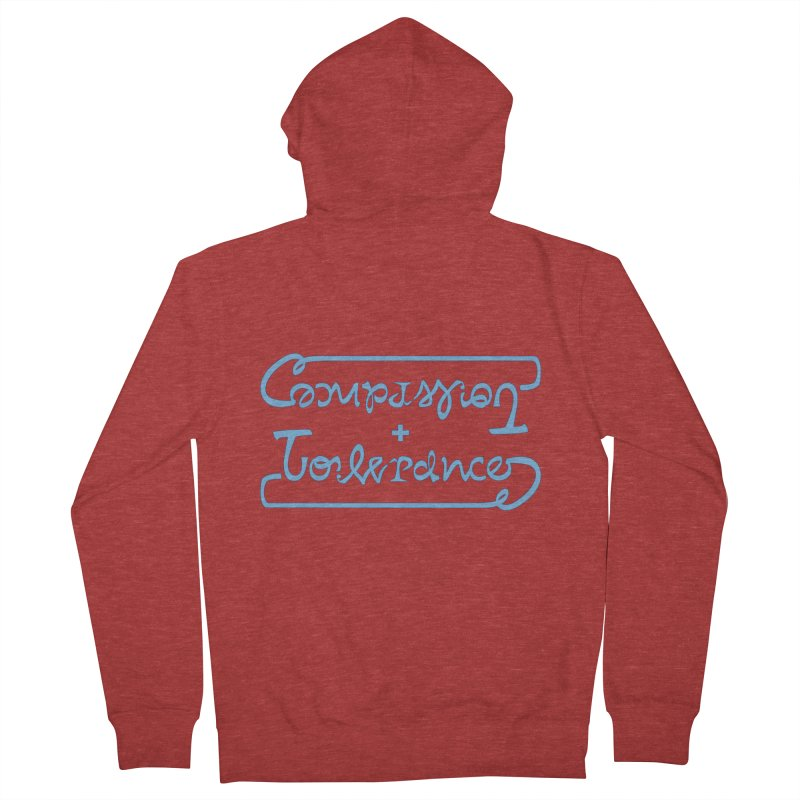 Compassion + Tolerance Men's French Terry Zip-Up Hoody by Ambivalentine's Shop