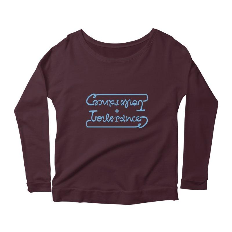 Compassion + Tolerance Women's Scoop Neck Longsleeve T-Shirt by Ambivalentine's Shop