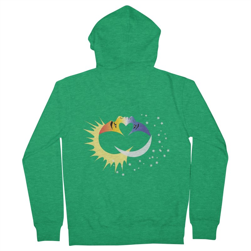 Sun Moon Love People Women's French Terry Zip-Up Hoody by Ambivalentine's Shop
