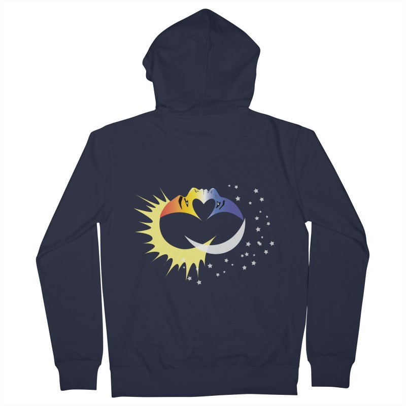Sun Moon Love People Men's French Terry Zip-Up Hoody by Ambivalentine's Shop