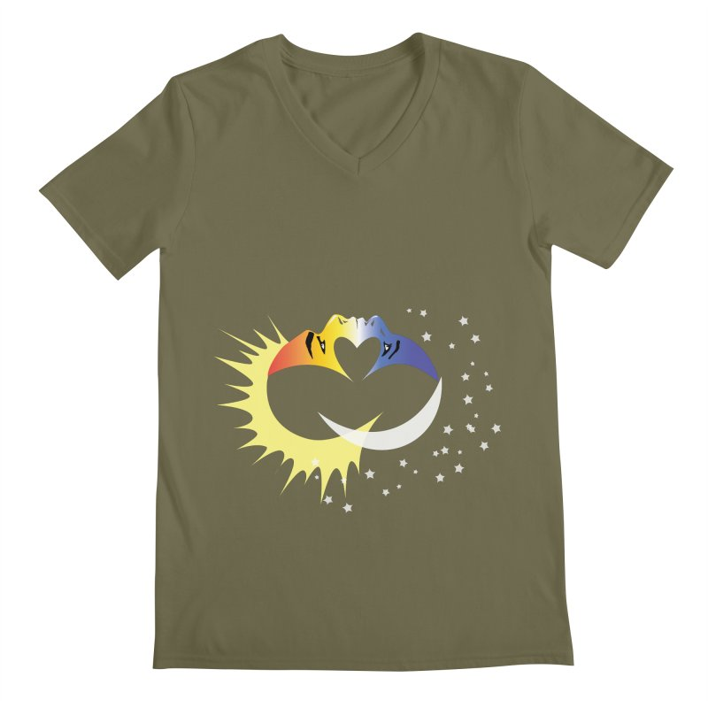 Sun Moon Love People Men's V-Neck by Ambivalentine's Shop