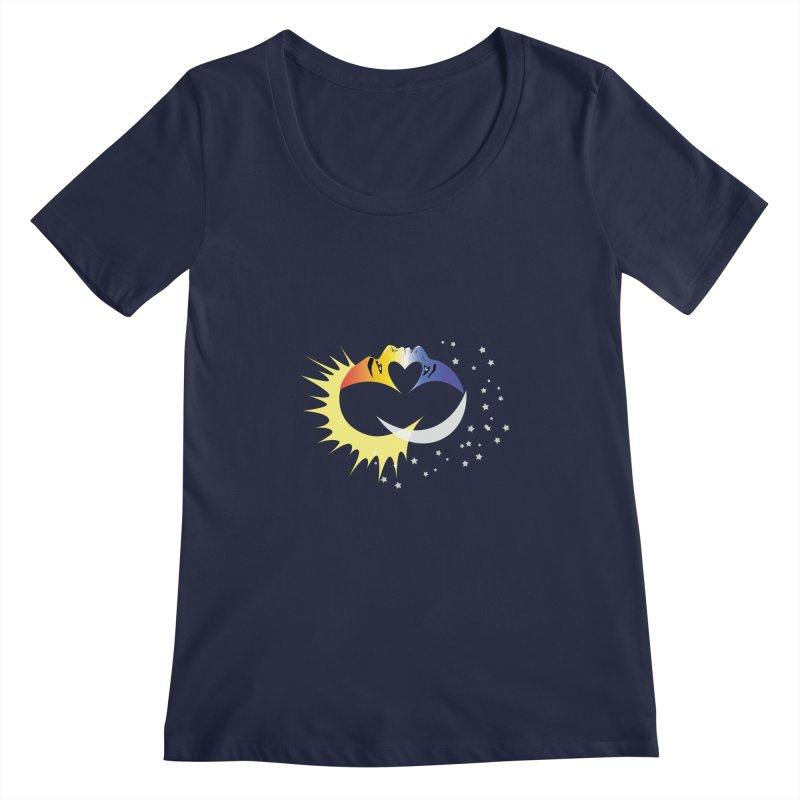 Sun Moon Love People Women's Regular Scoop Neck by Ambivalentine's Shop