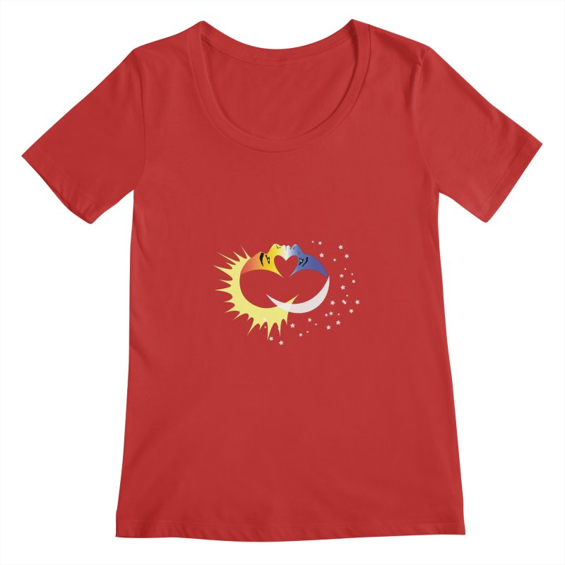Sun Moon Love People Women's Regular Scoop Neck by Ambivalentine's Shop