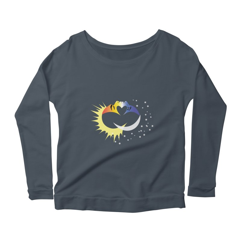 Sun Moon Love People Women's Longsleeve Scoopneck  by Ambivalentine's Shop