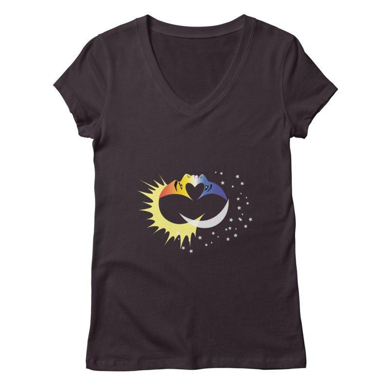 Sun Moon Love People Women's V-Neck by Ambivalentine's Shop