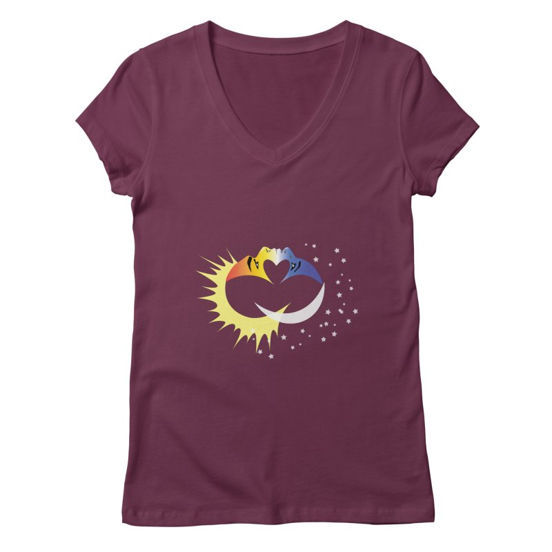 Sun Moon Love People Women's V-Neck by Ambivalentine's Shop