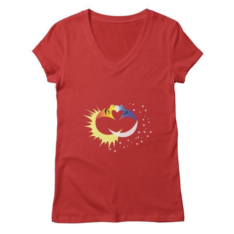Sun Moon Love People Women's Regular V-Neck by Ambivalentine's Shop