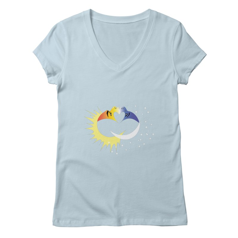 Sun Moon Love People Women's Regular V-Neck by Ambivalentine's Shop