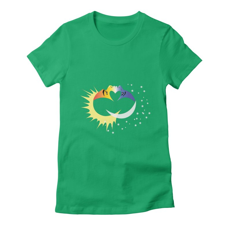 Sun Moon Love People Women's Fitted T-Shirt by Ambivalentine's Shop
