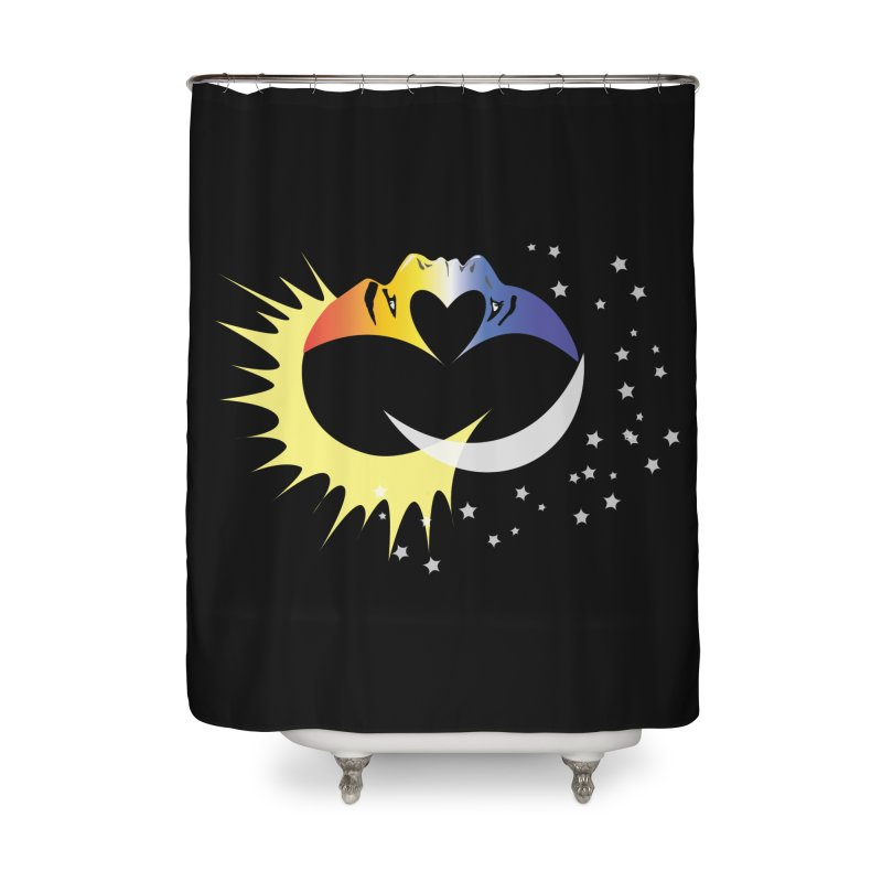 Sun Moon Love People Home Shower Curtain by Ambivalentine's Shop