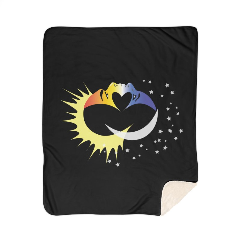 Sun Moon Love People Home Sherpa Blanket Blanket by Ambivalentine's Shop