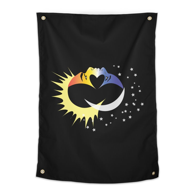 Sun Moon Love People Home Tapestry by Ambivalentine's Shop