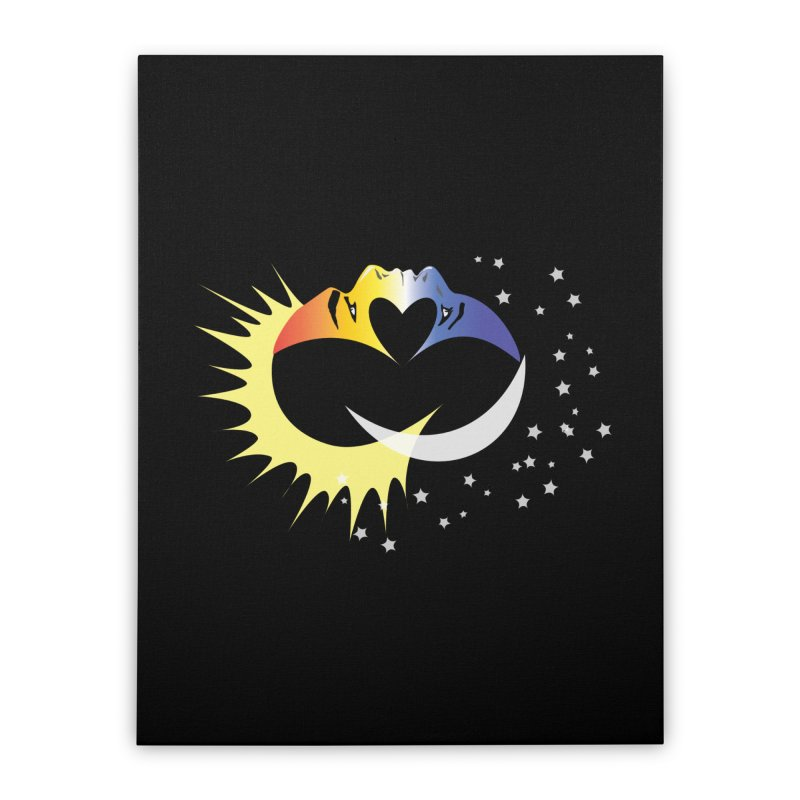 Sun Moon Love People Home Stretched Canvas by Ambivalentine's Shop
