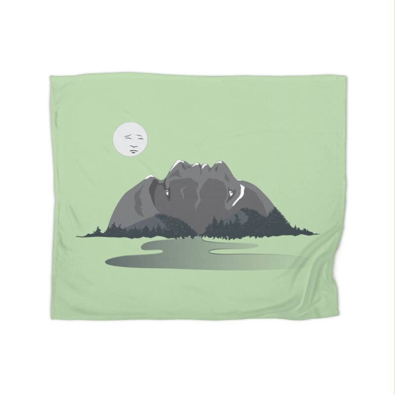 Mountain Faces Home Fleece Blanket Blanket by Ambivalentine's Shop