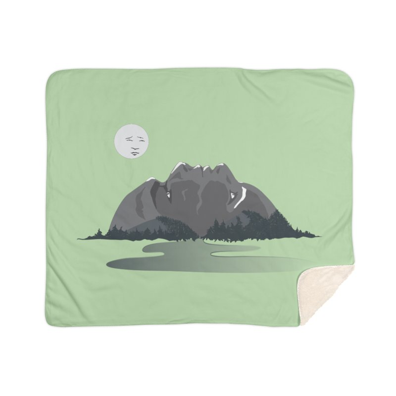 Mountain Faces Home Sherpa Blanket Blanket by Ambivalentine's Shop