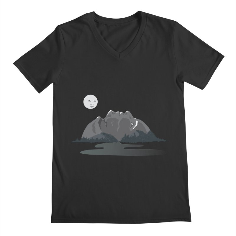 Mountain Faces Men's Regular V-Neck by Ambivalentine's Shop