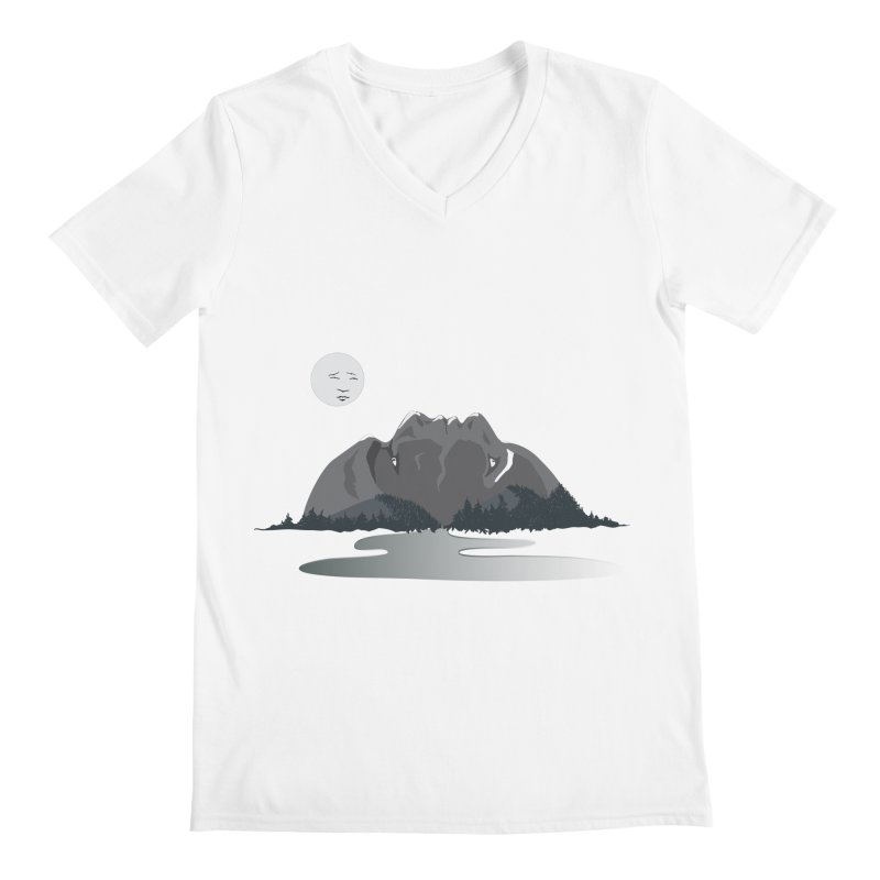 Mountain Faces Men's Regular V-Neck by Ambivalentine's Shop