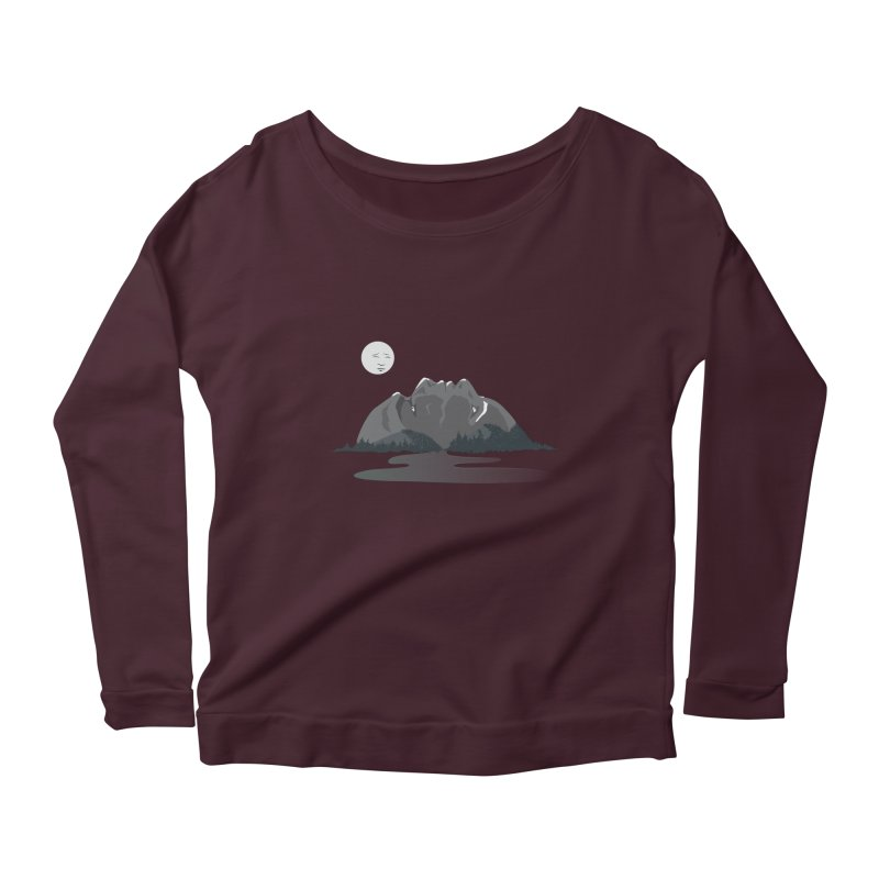 Mountain Faces Women's Longsleeve Scoopneck  by Ambivalentine's Shop