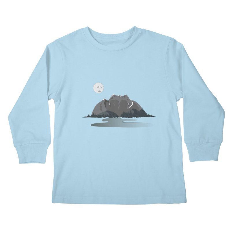 Mountain Faces Kids Longsleeve T-Shirt by Ambivalentine's Shop