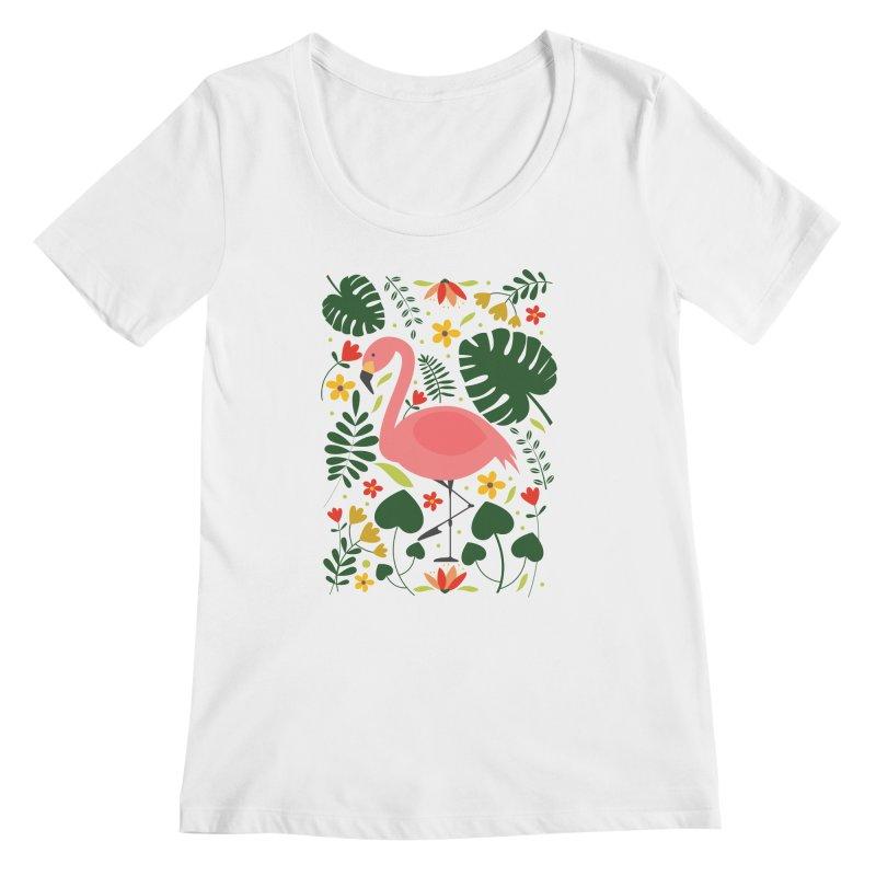 Flamingo Women's Regular Scoop Neck by AnastasiaA's Shop