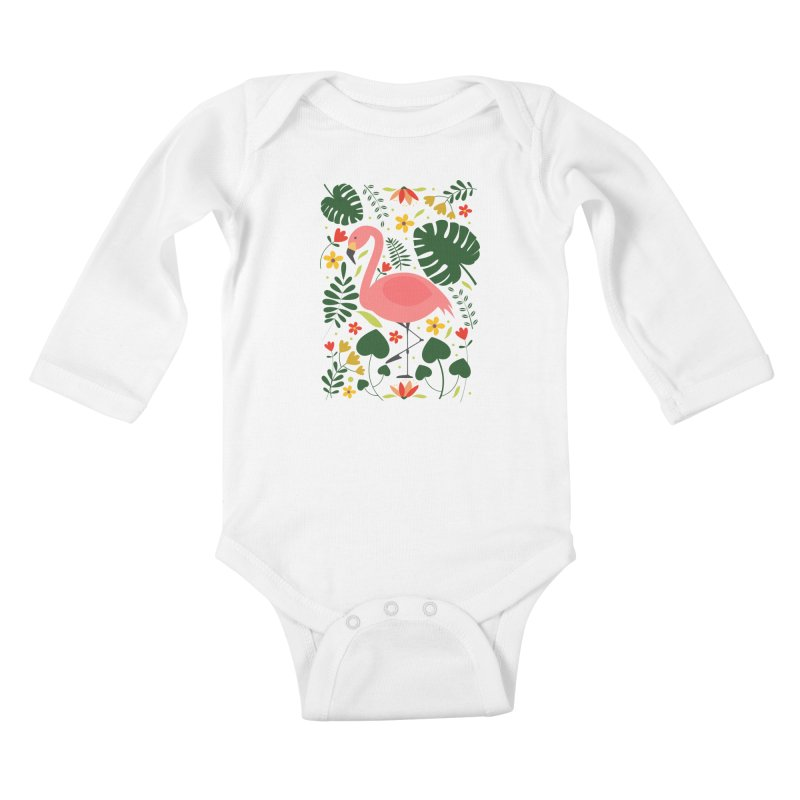 Flamingo Kids Baby Longsleeve Bodysuit by AnastasiaA's Shop