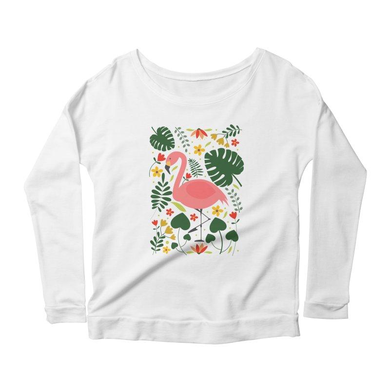 Flamingo Women's Scoop Neck Longsleeve T-Shirt by AnastasiaA's Shop