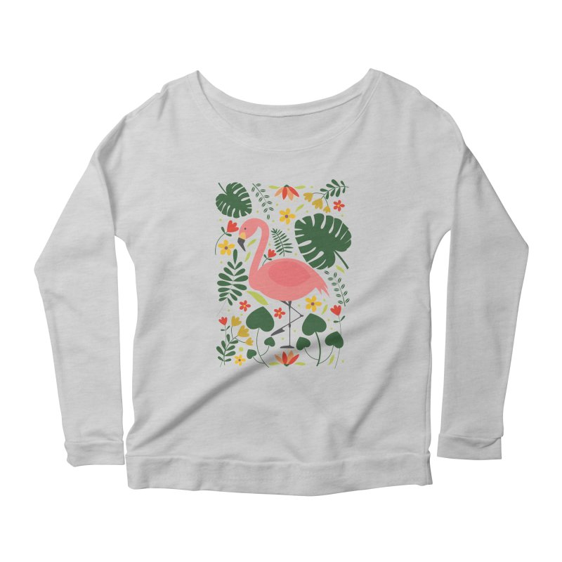 Flamingo Women's Scoop Neck Longsleeve T-Shirt by AnastasiaA's Shop