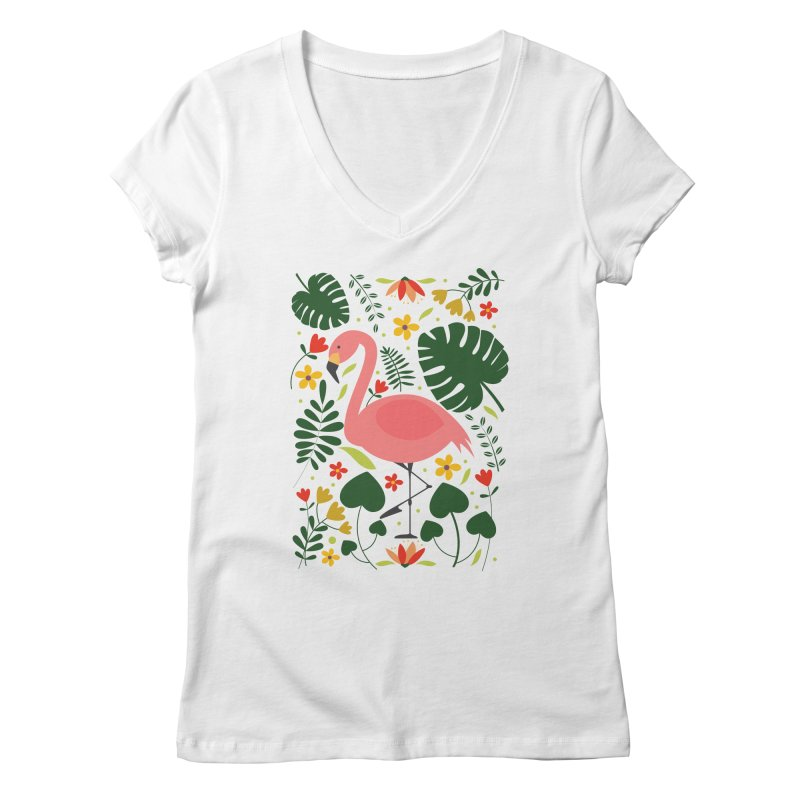 Flamingo Women's Regular V-Neck by AnastasiaA's Shop