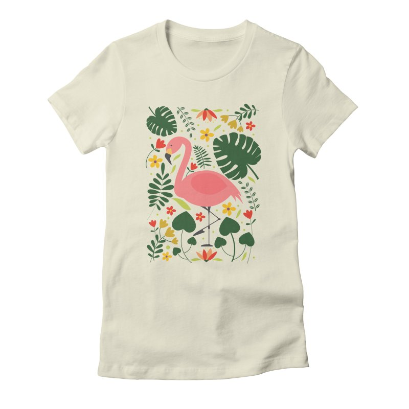 Flamingo Women's Fitted T-Shirt by AnastasiaA's Shop