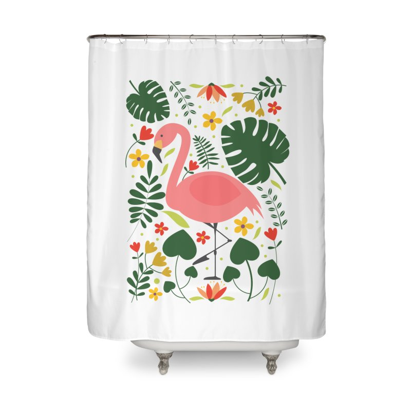 Flamingo Home Shower Curtain by AnastasiaA's Shop