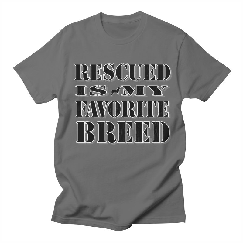 Rescue is my favorite breed stencil (Dark) Men's T-Shirt by Andy's Paw Prints Shop